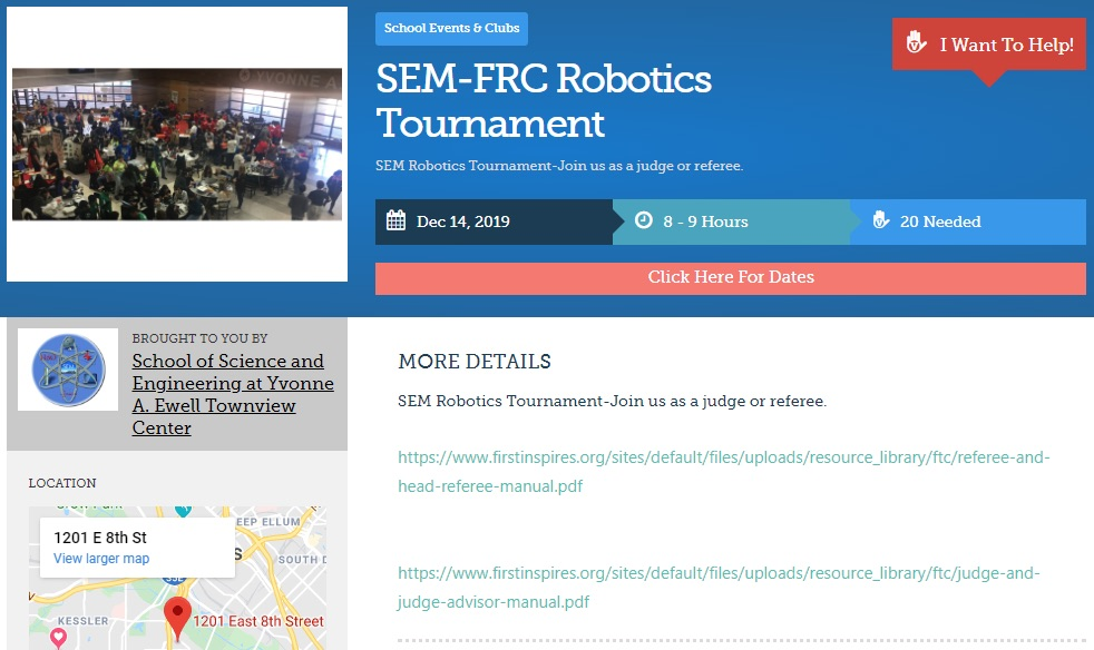 Sem Frc Robotics Tournament Volunteers