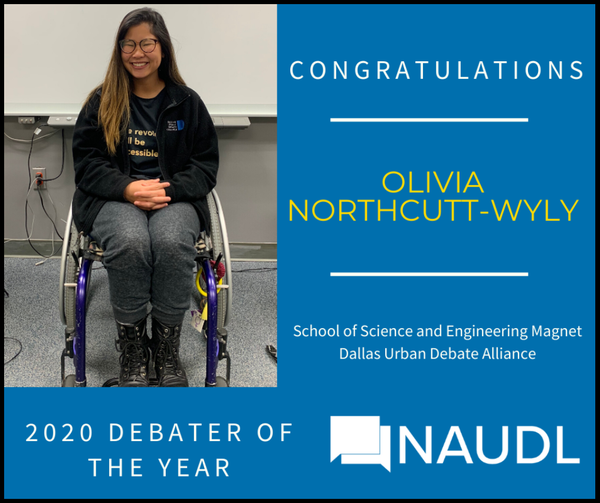 Olivia Chosen 2020 Debater Of The Year